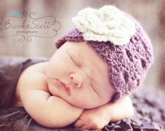 Girls Hat, Newborn Hat, Baby Hat, Crochet Girls Hat, Dusty Purple and Oatmeal Flower Flapper Hat, Photography Prop