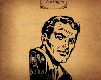 Retro Man Face Head Illustration Vintage Antique Digital Image Download Printable Graphic Clip Art Prints HQ 300dpi svg jpg png