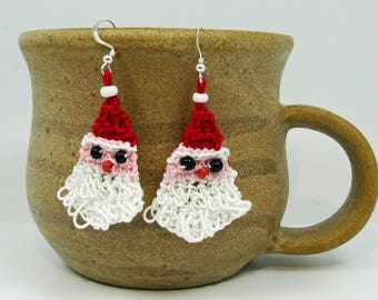 Christmas earrings, Crochet Christmas earrings, Santa Claus earrings, Crochet Santa Claus, Christmas gifts, Gift for girlfriend,