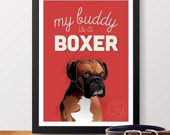 Boxer Dog Art Print - Boxer Dog Lover Gift, Boxer Dog Poster, Dog Poster, Dog Gift, Pet Poster, Pet Wall Art