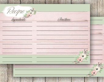 Recipe Cards Green and Pink Recipe Cards Printable Template Recipe Cards 4x6 Floral Recipe Cards Spring Recipe Card Teal Pink  Recipe Cards