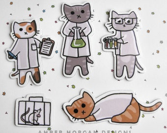 Cute Cat Magnet Set, Refrigerator Magnets, Cubicle Decor,  Science Cats, Nerdy Cats, Fridge Magnet, Cute Kitty Magnet, Funny Cat Magnets