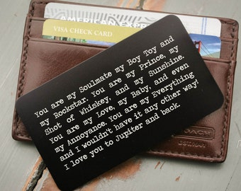 Personalized Wallet Card, Custom Wallet Insert: Valentine's Day, Anniversary Gift for Men, Stocking Stuffer Father of the Bride Gift for Him