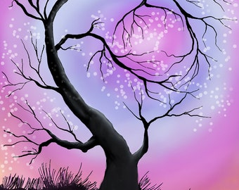 Winter Tree Caressing Moon PNG