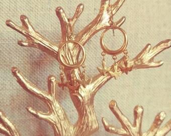 Gold Chandelier Bird Earrings