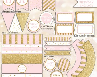 Pink and gold Birthday decorations (INSTANT DOWNLOAD) - Pink and gold party package - Printable party package BI001