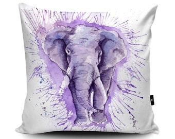 Hand-Made Elephant Art Cushion, by Katherine Williams | Elephant Pillow | Elephant Cushion Cover | Elephant Soft Furnishings Pillow Case