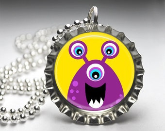 Aliens and Monsters Bottle Cap Pendant Necklace - Free Ball Chain