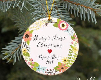 Baby's First Christmas Ornament Personalized Christmas Ornament Baby Shower Gift New Baby Gift Custom Holiday Ornament Floral Flowers Girls