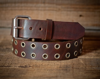 Leather eyelet Belt, Full Grain Leather Belt, Brown Leather Belt,