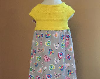 Little Miss Dress - Knit Bodice - Yellow - Hearts - Sizes 3 month, 6 month, 12 month, 18 month, and 2T
