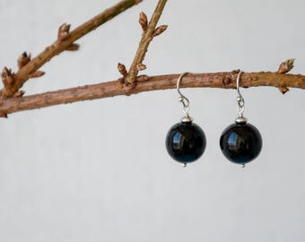 Black ball earrings, Womens black earrings dangle, Black dangle earrings, Simple black jewelry / 0.3 to 0.7 inch ball size, FREE SHIPPING