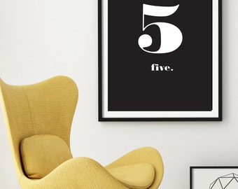 "Number 5 Typography Printable Wall Art 24 x 36"" - Scandinavian Print - Nordic Design - Black and White Minimal Wall Art - Instant Download"