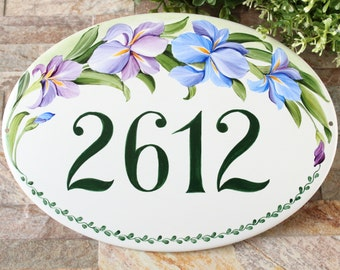 Custom Iris outdoor address sign, House numbers, Ceramic outdoor welcome sign, Cottage house number plaque, Personalized ceramic number tile