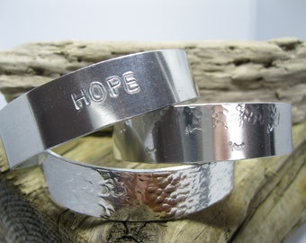Aluminium bangle cuff footprints in the sand/ hope/ textured chunky adjustable
