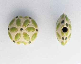 Green Petals With A Darker Green Center Lentil Bead, Petite Lentil Pendant Bead, Hand Crafted Pendant Bead
