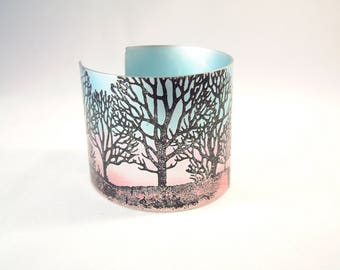 Winter tree anodised aluminium cuff bracelet bangle anodized Christmas Birthday gift nature modern