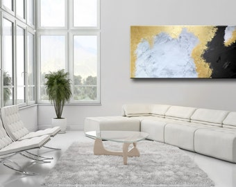 """72x32"""" ORIGINAL ABSTRACT White Gray Gold Black Extra Large Painting on Canvas Abstract Modern Wall Art wall decor"""
