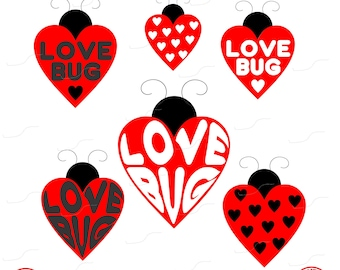 Love Bug, Love Bugs, Hearts, Love, Red, Heart, Girls, Toddlers, Digital Cut File, Vinyl Cutting File, SVG, DXF, EPS, Silhouette, Cricut