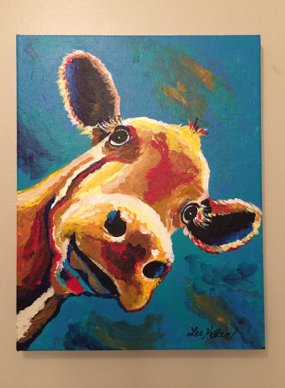 Colorful cow canvas art cow print 39 gertrude 39 cow for Cow painting print