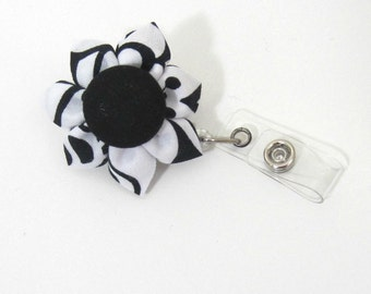 Black & White Badge Reel, Retractable ID Holder, Badge Holder, ID Badge, Lanyard, Flower Badge Reel, Flower ID Holder, Nurse-Two Styles