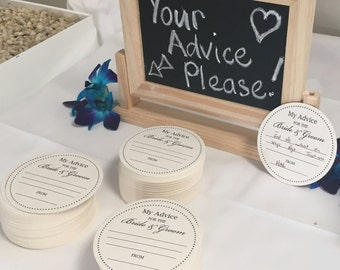 100 x Letterpress Wedding Advice Coasters for Bride & Groom