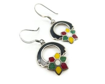 Vintage Sterling, Flower Earrings, Enamel, Made in Mexico, Signed, Hooks, STP36