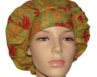 Autumn Leaves-ScrubHeads-Etsy Scrub Hats-Scrub Caps-Surgical Cap-Scrub Hats-Surgical Hat-Holiday Scrub Hats-Scrub Hats For Women-Gift