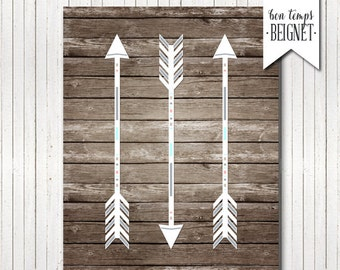 Arrow Art Printable - Rustic Printable Art - Tribal Decor - INSTANT DOWNLOAD -  5x7 AND 8x10
