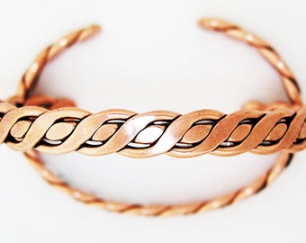 Large Twisted Braid Solid Copper Cuff Bracelet BCCUFF204 Large Size Copper Cuff Bracelet