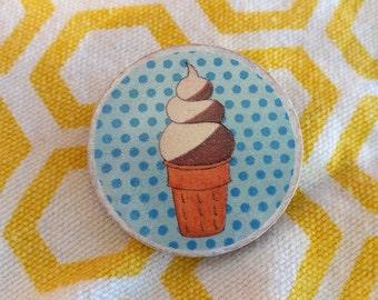 Polka Dot Ice Cream Wooden Pin
