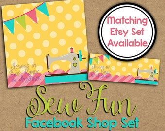 Sewing Facebook Timeline Cover - Facebook Shop Set - Sewing Profile Image - Facebook Banner - Sewing Shop Set - Sew Fun Facebook Graphics