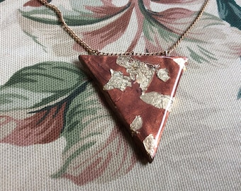 Triangle abstract clay necklace handmade Gold foil triangle pendant
