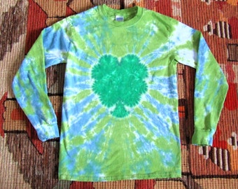 Adult Small Shamrock 4 Leaf Clover Long Sleeve Tie Dye T-Shirt - St. Patrick's Day - Ready to Ship