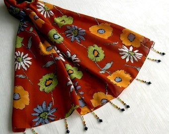 Scarf, scarf, print scarf simple classic flowers 258
