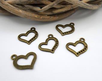 5 charms metal heart bronze 21 x 23 mm