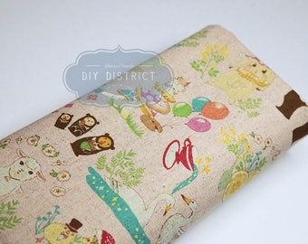 Easter animal theme canvas Japanese fabric