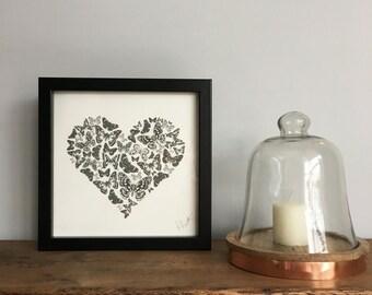 Butterfly Heart Illustration Print