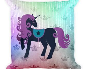 Unicorn, Pegasus, Fairies, Fantasy, Shabby Chic, Boho, Girl, Child, Square Pillow, Throw Pillow, Accent Pillow, Version 2