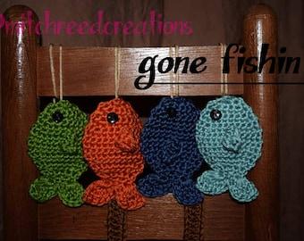 Set of four crochet fish