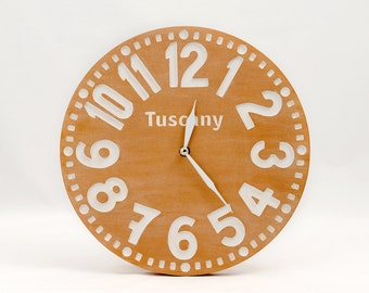 Large wooden handmade faux vintage clock -Tuscany - // modern home decor // housewarming gift // graduation day gift // FREE SHIPPING