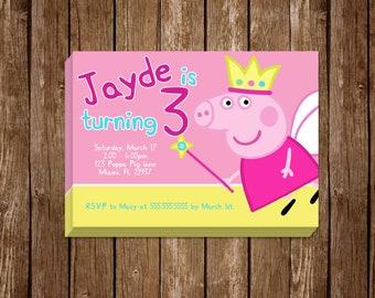 Peppa Pig Birthday Invitation 5x7