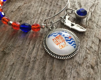 Florida Gators jewelry, University of Florida, Gators bracelet bangle, beaded , adjustable bangle, football bracelet , stackable