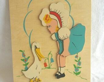 1940s Goosey Goosey Gander Nursery Rhyme Wall Art // Handpainted