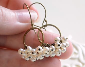Pearl Cluster Earrings, White Swarovski Pearls, Creamrose, Antiqued Brass, Wire Wrapped, Bridal, Romantic Wedding Jewelry