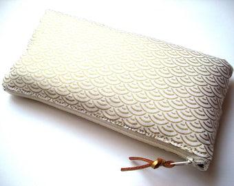 Ivory and gold quilted glasses case