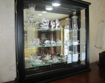 Lighted Wall Curio Display Cabinet Black