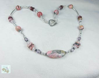 Sterling Silver & Precious Stone Necklace Featuring a Heart Clasp. Multiple Stone and Sterling Silver Necklace in Pink, Purple and Lavender