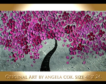 Original Modern  Pink Plum Gray Tree Impasto Acrylic Abstract Palette Knife  Painting .  Made2Order.  Size  48 x 24