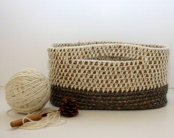 Heather Grey Basket- Everything Basket-Rope Basket-Crocheted Basket-Unique-Gift-Organization- Decorative Storage-Shower Gift